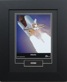 Atlantis framed print matted to include flown cargo bay liner artifact