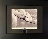 "F4U Corsair framed and matted to include F4U Corsair metal ""skin"""