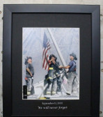 9-11 Photograph FDNY Raising the Flag at Ground Zero