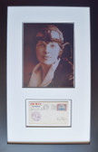 Amelia Earhart in Flight Helmet with Signed First Day Envelope