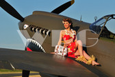 """Jen"" with the P-40 Warhawk"