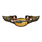 Lightning Winged Oval Metal Sign