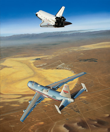 Free Enterprise by Mike Machat. The Space Shuttle Enterprise during a landing test at Edwards AFB.