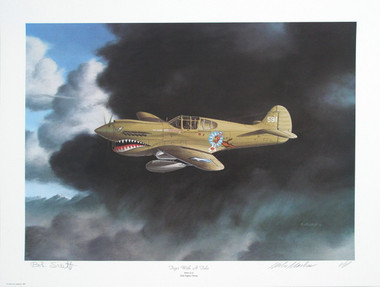 """Tiger with a Tale by Aviation Artist Mike Machat. A Rare Aviation Art print signed by Robert L. """"Bob"""" Scott Jr."""