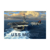 USS Midway Vintage Metal Sign