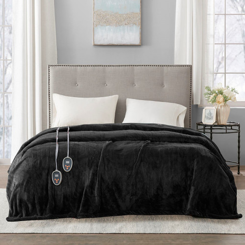 Solid Black Electric Heated Plush Year Round Blanket (Heated Plush-Black-Blanket)