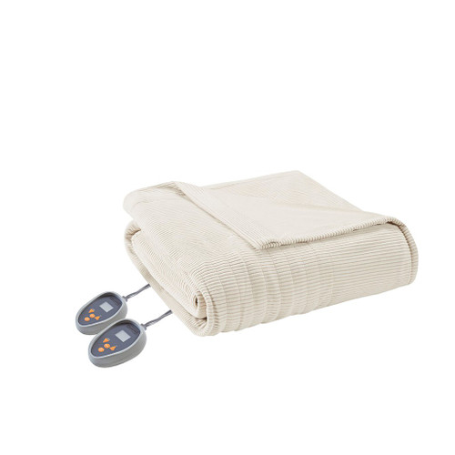 Ivory Electric Textured Microfleece Heated Year Round Blanket (Electric Micro-Ivory-Blanket)