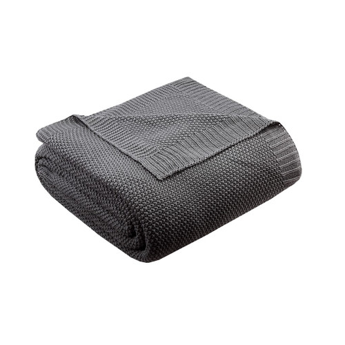 Charcoal Grey Classic Knitted Year Round Blanket (Bree-Charcoal-Blanket)