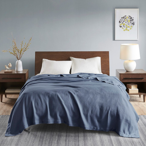 Rich Blue Egyptian Cotton Year Round Blanket (Egyptian-Blue-Blanket)