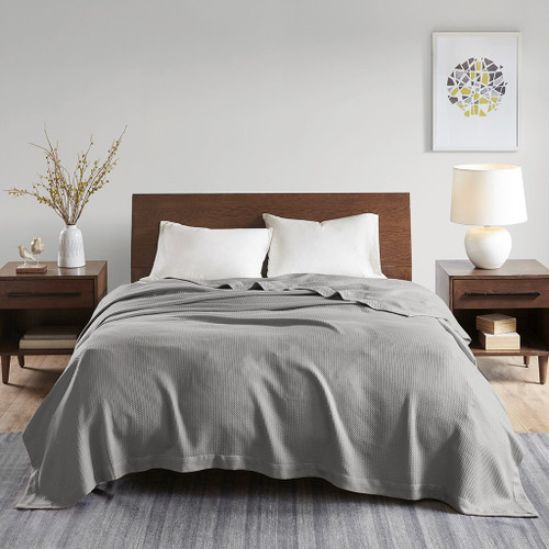 Solid Grey Egyptian Cotton Year Round Blanket (Egyptian-Grey-Blanket)