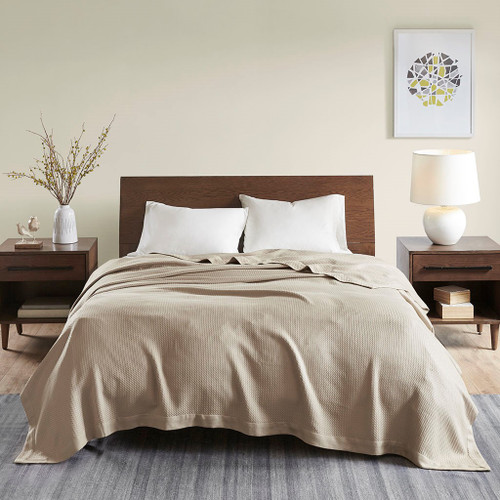 Solid Khaki Brown Egyptian Cotton Year Round Blanket (Egyptian-Khaki-Blanket)