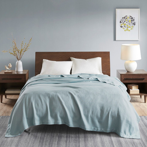 Solid Light Blue Egyptian Cotton Year Round Blanket (Egyptian-Light Blue-Blanket)