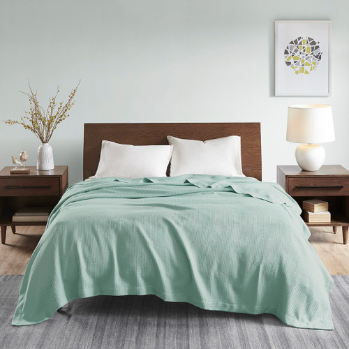 Solid Seafoam Green Egyptian Cotton Year Round Blanket (Egyptian-Seafoam-Blanket)