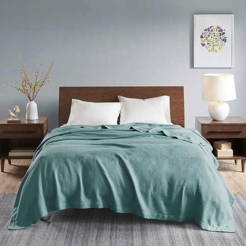 Solid Teal Blue Egyptian Cotton Year Round Blanket (Egyptian-Teal-Blanket)