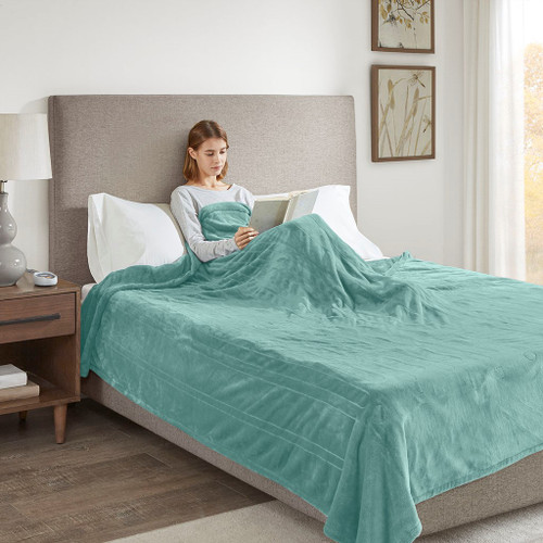 Solid Aqua Blue Electric Heated Plush Year Round Blanket (Heated Plush-Aqua-Blanket)