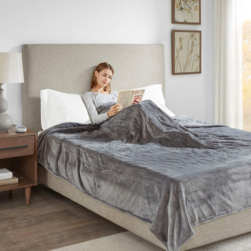 Solid Grey Electric Heated Plush Year Round Blanket (Heated Plush-Grey-Blanket)