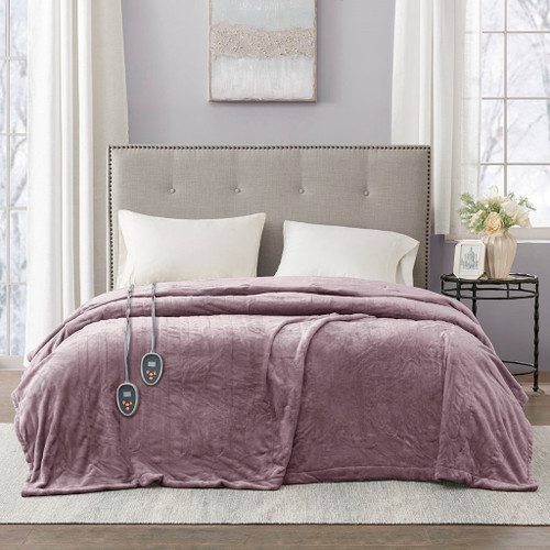 Solid Lavender Electric Heated Plush Year Round Blanket