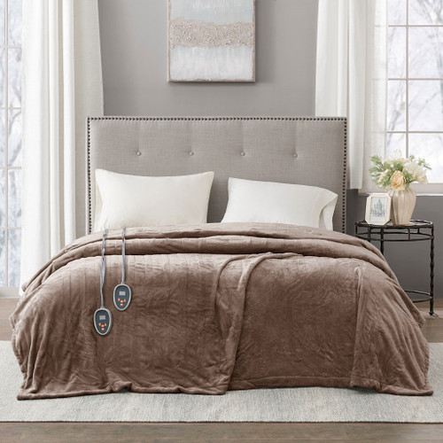 Solid Brown Electric Heated Plush Year Round Blanket (Heated Plush-Mink-Blanket)
