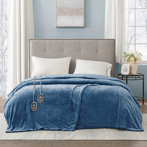 Solid Rich Blue Electric Heated Plush Year Round Blanket (Heated Plush-Sapphire Blue-Blanket)