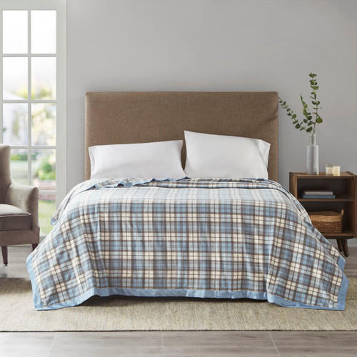 Blue Plaid Micro Fleece Year Round Blanket w/Satin Trim (Micro Fleece-Blue Plaid-Blanket)