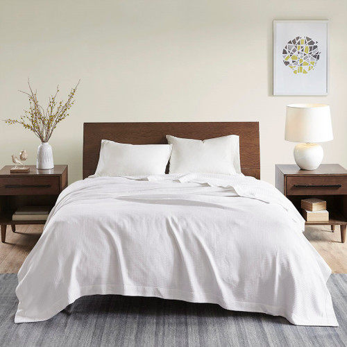 Solid White Egyptian Cotton Year Round Blanket (Egyptian-White-Blanket)