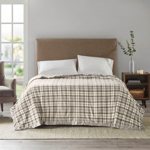 Grey Plaid Micro Fleece Year Round Blanket w/Satin Trim (Micro Fleece-Grey Plaid-Blanket)