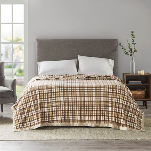 Tan Plaid Micro Fleece Year Round Blanket w/Satin Trim (Micro Fleece-Tan Plaid-Blanket)