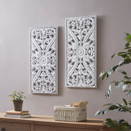 "2pc Luxury White Botanical Wood Panel Carved Wall Panel Set 15x31"" (086569301796)"