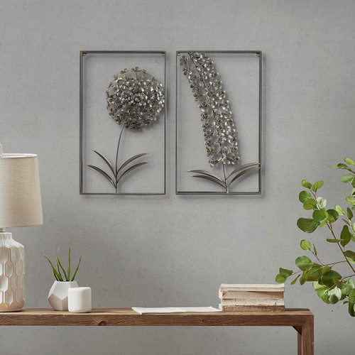 "2pc Metal Gold Garden Botanical Wall Art Decor 12x20"" (086569305190)"