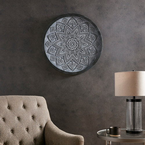 "Grey Medallion Carved Wall Art Panel Decor 25x25"" (086569301697)"