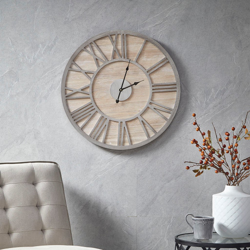 "Natural Color Contemporary Rustic Mason Wall Clock 23x23"" (086569305169)"
