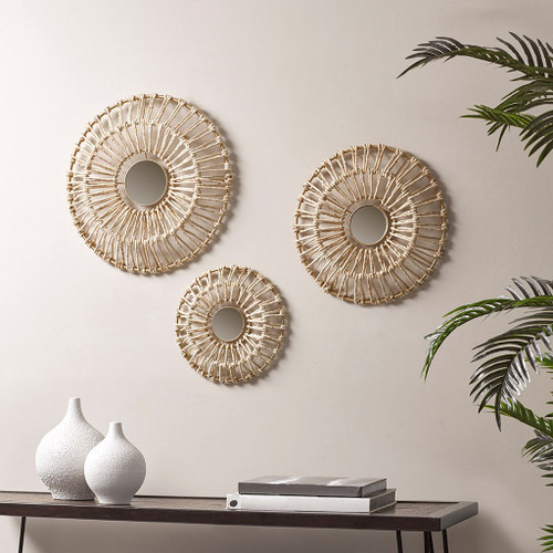 3pc Natural Ella Corn Leaves Wrapped Metal Wall Decor Art Set (086569305183)
