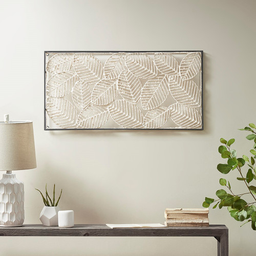 "Beige Paper Cloaked Leaves Metal Frame Wall Decor 31x15"" (086569296474)"