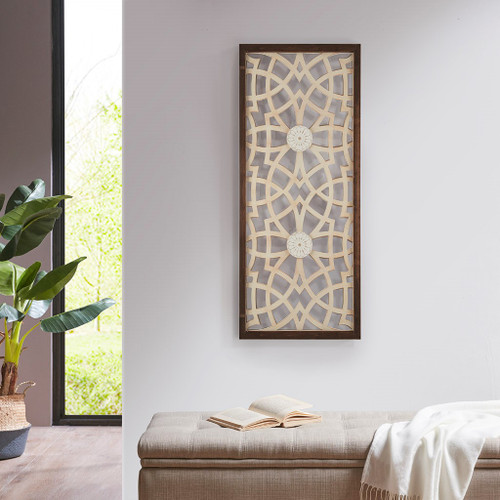 """Brown Beige Damask Wood Panel Carved Wall Panel Art 15x37"""" (086569301802)"""