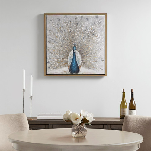 "Elegant Blue & Gold Gilded Peacock Framed Canvas Wall Art Gold Foil 27x27"" (086569307668)"