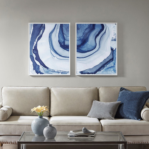 "2pc Blue Ethereal Printed Framed Canvas Wall Art Set 23x29"" (086569905765)"