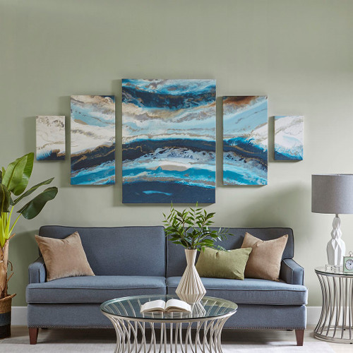 5pc Midnight Ocean Blue Gel Coat Canvas Wall Art Set (086569927071)