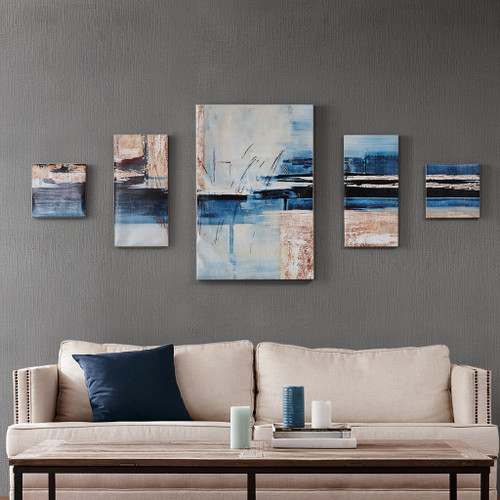 5pc Blue Mulit Color Overseas Printed Canvas Wall Art Set (086569848819)