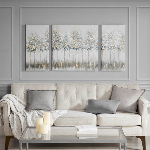3pc Blue Gold Forest Printed Canvas Wall Art Set (086569301024)