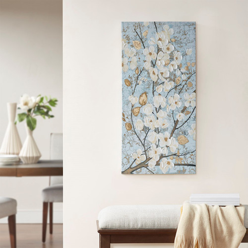 "Blue/Gold Luminous Bloom Floral Canvas Wall Art 39x19"" (086569226945)"
