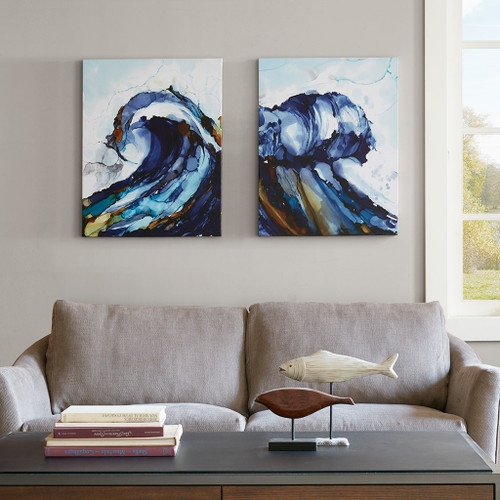 "2pc Blue Liquid Ocean Waves Gel Coat Canvas Wall Art 22x28"" Each (086569853295)"