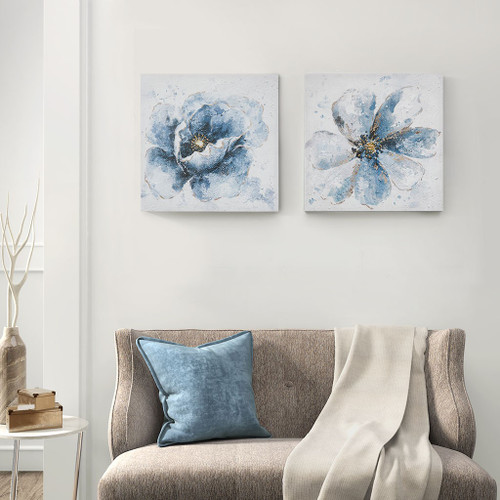 "2pc Blue Gleaming Florals Printed Canvas Wall Art Set 20x20"" Each (086569263414)"
