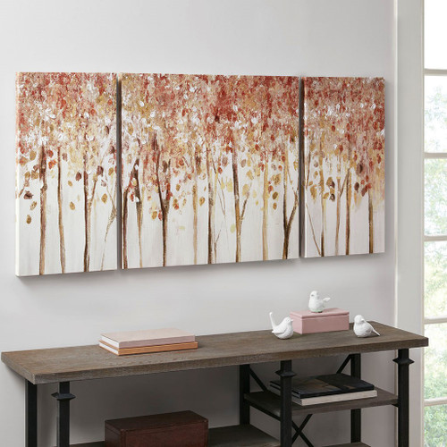 3pc Red & Brown Autumn Forest Canvas Wall Art (086569226938)