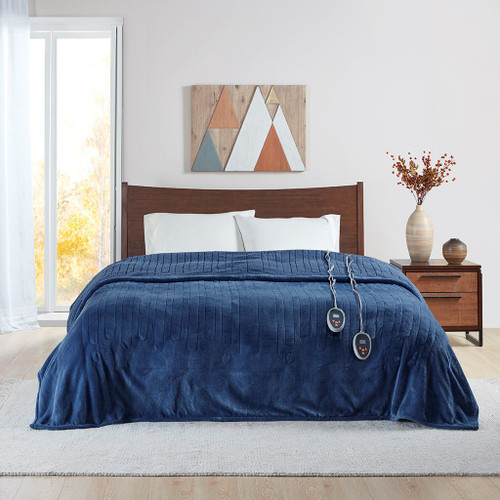 Deep Blue Heated Reversible Microlight Cozy Berber Blanket w/Auto Shut Off (Heated Microlight-Indigo-Blanket)