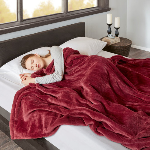 Deep Red Heated Reversible Microlight Cozy Berber Blanket w/Auto Shut Off (Heated Microlight-Red-Blanket)