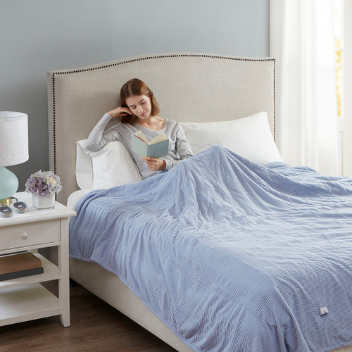 Soft Blue Electric Textured Microfleece Heated Year Round Blanket (Electric Micro-Blue-Blanket)