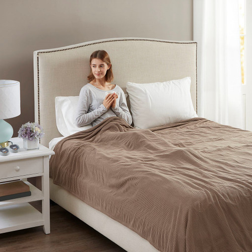Brown Electric Textured Microfleece Heated Year Round Blanket (Electric Micro-Brown-Blanket)