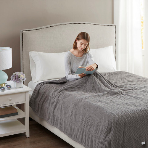 Grey Electric Textured Microfleece Heated Year Round Blanket (Electric Micro-Grey-Blanket)