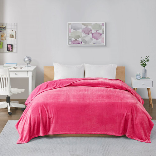 Hot Pink Ultra Soft Plush Oversized Lofty Blanket (Microlight Plush-Pink-Blanket)