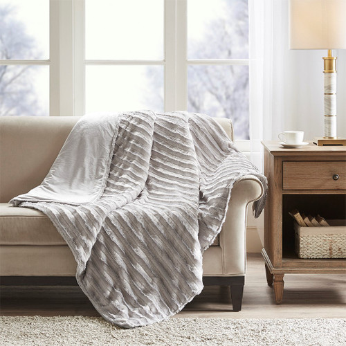 "12 Pound Grey Weighted Faux Fur Throw Blanket - 60x70"" (086569185044)"